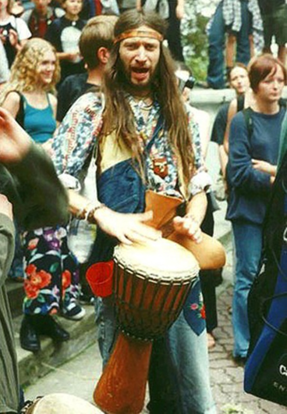 A kratom hippy banging a drum.